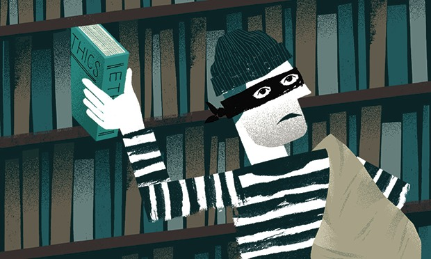 Chris Madden illustration of a burglar stealing a book on ethics