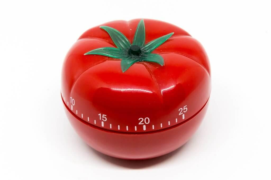 tomato-shaped kitchen timer used for Pomodoro technique
