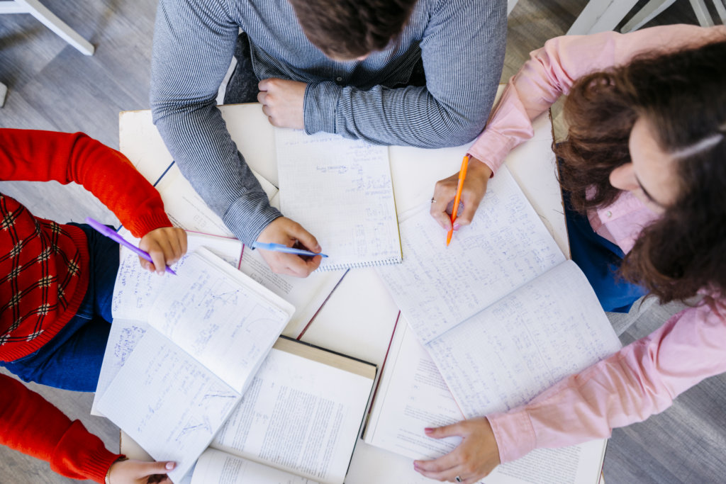 study group of college students preparing for an exam