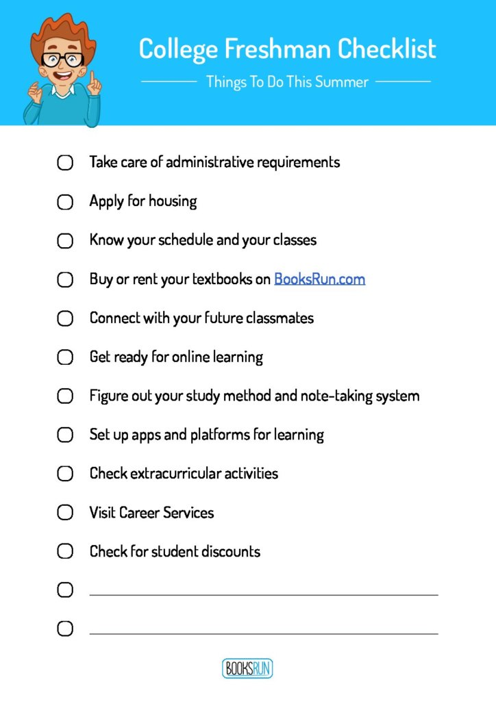 college freshman checklist to guide you through the things you need to do this summer