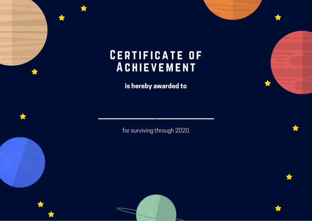 certificate of achievement for surviving 2020