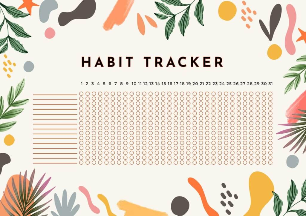 a habit tracker for achieving new year's resolutions and yearly goals