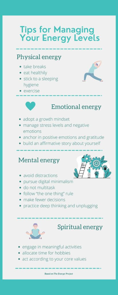 tips for personal energy management based on the energy project philosophy