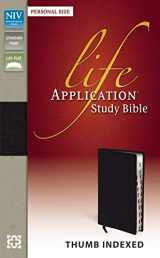 9780310431534-0310431530-NIV, Life Application Study Bible, Personal Size, Bonded Leather, Black, Indexed, Point size is 8.5