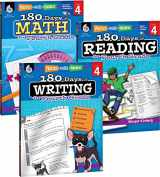 9781493825936-1493825933-180 Days of Practice for 4th Grade (Set of 3), Assorted Fourth Grade Workbooks for Kids Ages 8-10, Includes 180 Days of Reading, 180 Days of Writing, 180 Days of Math