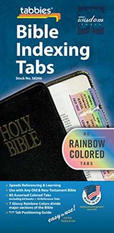 Tabbies Rainbow Bible Indexing Tabs, Old & New Testaments, 80 Tabs Including 64 Books & 16 Reference Tabs, Multi-Colored (58346)