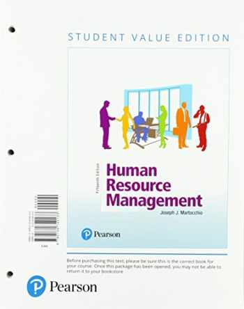 9780134740133-0134740130-Human Resource Management, Student Value Edition (15th Edition)