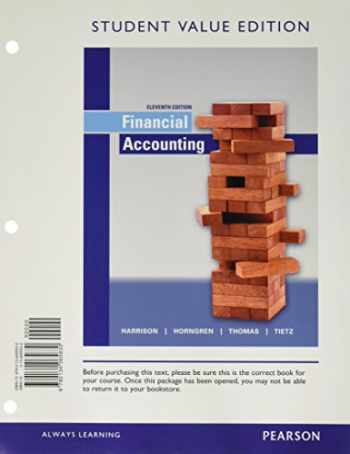 9780134065830-0134065832-Financial Accounting, Student Value Edition (11th Edition)