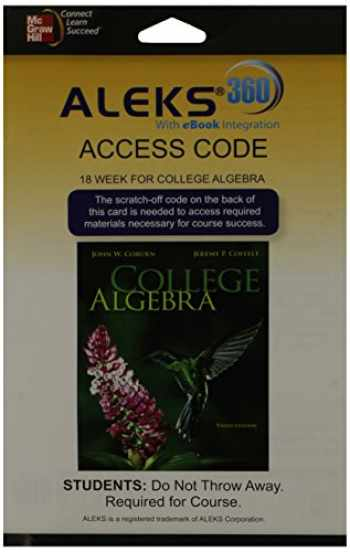 9780077847159-0077847156-ALEKS 360  Access Card (18 weeks) for College Algebra