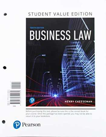 9780134831442-0134831446-Business Law, Student Value Edition Plus MyLab Business Law with Pearson eText -- Access Card Package (10th Edition)