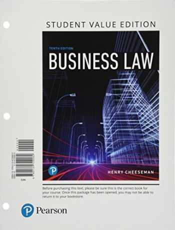 9780134729060-0134729064-Business Law, Student Value Edition (10th Edition)