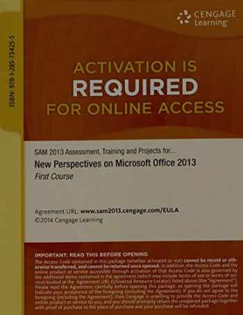 9781285734255-1285734254-SAM 2013 Assessment, Training, and Projects with MindTap Reader, 1 term (6 months) Printed Access Card for Shaffer/Carey/Parsons/Oja/Finnegan's New Perspectives on Microsoft Office 2013, First Course