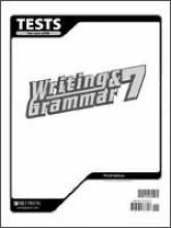 9781591663706-1591663709-Test for Use with Writing & Grammar 7 (for Christian Schools)