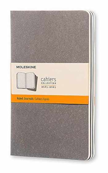 """9788866134237-8866134236-Moleskine Cahier Journal, Soft Cover, Large (5"""" x 8.25"""") Ruled/Lined, Pebble Grey, 80 Pages (Set of 3)"""