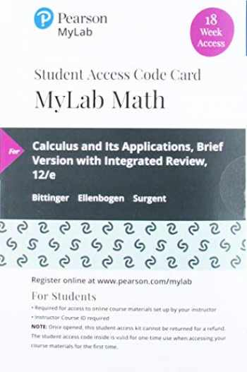 9780135910115-0135910110-MyLab Math with Pearson eText -- 18 Week Standalone Access Card -- for Calculus and Its Applications: Brief Version