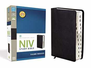 9780310437499-0310437490-NIV Study Bible, Bonded Leather, Black, Red Letter Edition, Thumb Indexed