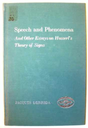 9780810103979-0810103974-Speech and Phenomena : and Other Essays on Husserl's Theory of Signs