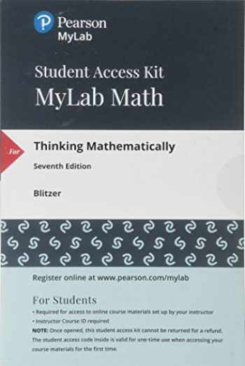 9780134705095-0134705092-MyLab Math with Pearson eText -- 24 Month Standalone Access Card -- for Thinking Mathematically