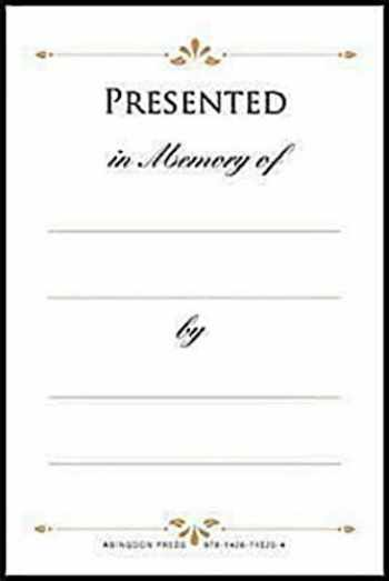 9781426715204-142671520X-Presented in Memory of Bookplates (Pkg of 48)