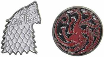 9781452164281-1452164282-Game of Thrones Twin Pins: Stark and Targaryen Sigils: Two Enamel Pins (Enamel Pin Sets, Game of Thrones Buttons, Jewelry from Books)