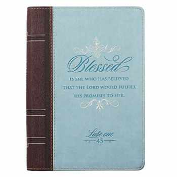 9781432119768-1432119761-Blessed Is She Luke 1:45 Bible Verse Blue Faux Leather Journal w/Ribbon Inspirational Zippered Notebook w/Lined Pages, 6.5 x 8.75 Inches (English Edition)