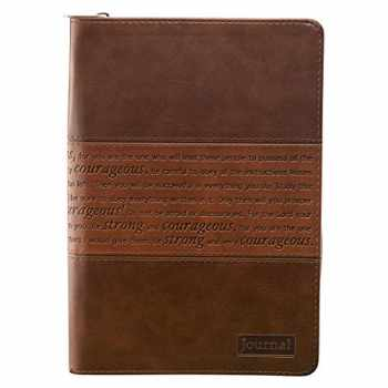 9781432101961-143210196X-Strong and Courageous Joshua 1:5-7 Bible Verse Brown Faux Leather Journal Inspirational Zippered Notebook w/Ribbon and Lined Pages, 6.5 x 8.75