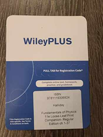 9781119306924-1119306922-Wileyplus Access Card for Fundamentals of Physics 11th Edition