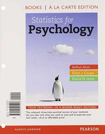 9780205905928-0205905927-Statistics for Psychology, Books a la Carte Edition