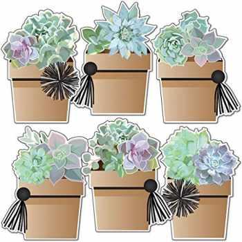 9781483854670-1483854671-Schoolgirl Style - Potted Succulents Colorful Cut-Outs, Classroom Décor, 36 Pieces