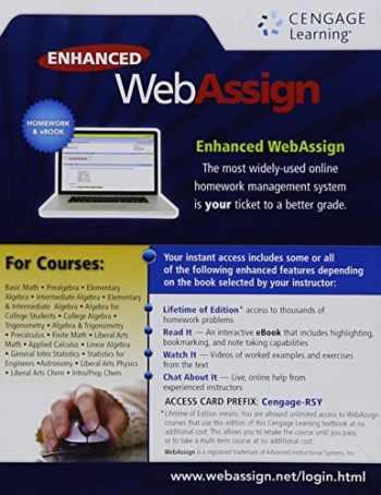 9781285858500-1285858506-Enhanced Webassign Single-Term Loe Printed Access Card for Math & Sciences