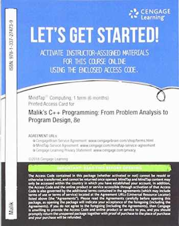 9781337274739-1337274739-MindTap Computing, 1 term (6 months) Printed Access Card for Malik's C++ Programming: From Problem Analysis to Program Design, 8th