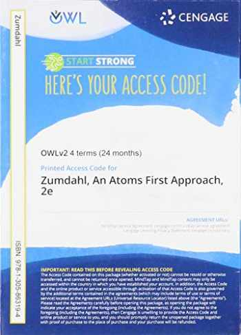 9781305863194-1305863194-OWLv2 with Student Solutions Manual, 4 terms (24 months) Printed Access Card for Zumdahl/Zumdahl's Chemistry: An Atoms First Approach, 2nd