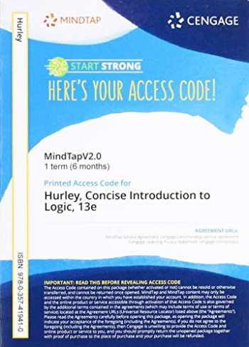 9780357419410-0357419413-MindTapV2.0 for Hurley/Watson's A Concise Introduction Logic, 1 term Printed Access Card