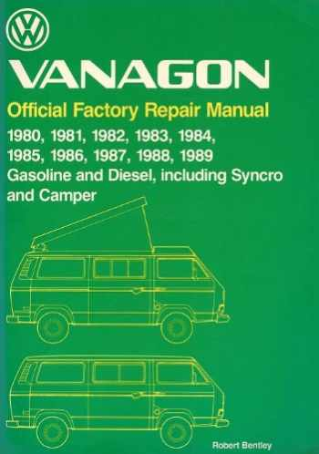 9780837603452-0837603455-Volkswagen Vanagon: Official Factory Repair Manual 1980, 1981, 1982, 1983, 1984, 1985, 1986, 1987, 1988, 1989 Gasoline and Diesel, Including Syncro (Volkswagen service manuals)