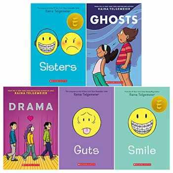 9789123894598-9123894598-Raina Telgemeier Collection 5 Books Set (Sisters, Drama, Smile, Ghosts, Guts)