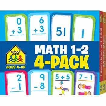 9781601599360-1601599366-School Zone - Math 1-2 Flash Card 4-Pack - Ages 4+, Addition, Subtraction, Numbers 0-100, Math War Game, and More (Flash Card 4-pk)