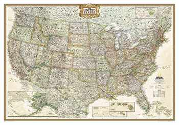9780792233787-0792233786-National Geographic: United States Executive Wall Map - Laminated (43.5 x 30.5 inches) (National Geographic Reference Map)
