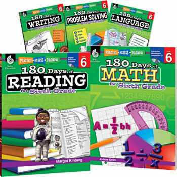 9781425828035-1425828035-180 Days of Sixth Grade Practice, 6th Grade Workbook Set for Ages 10-12, Includes 5 Assorted Sixth Grade Workbooks to Practice Math, Reading, Grammar, ... Problem Solving Skills (180 Days of Practice)