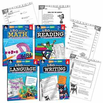 9781425816384-142581638X-180 Days of Practice - 4th Grade Workbook Set - Includes 4 Assorted Fourth Grade Workbooks for Daily Practice in Reading, Math, Writing, and Grammar Skills