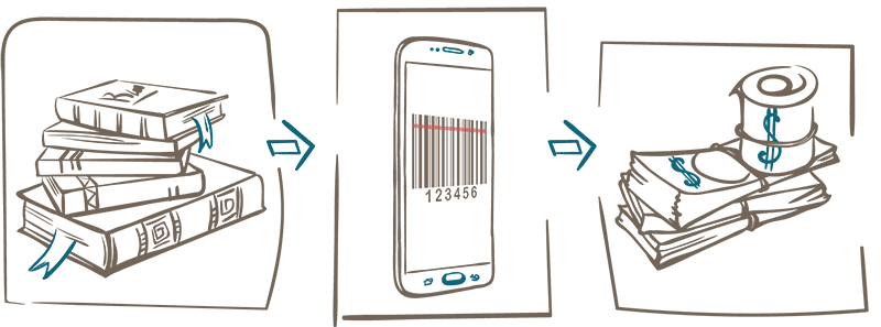 Barcode scanner bookscouting